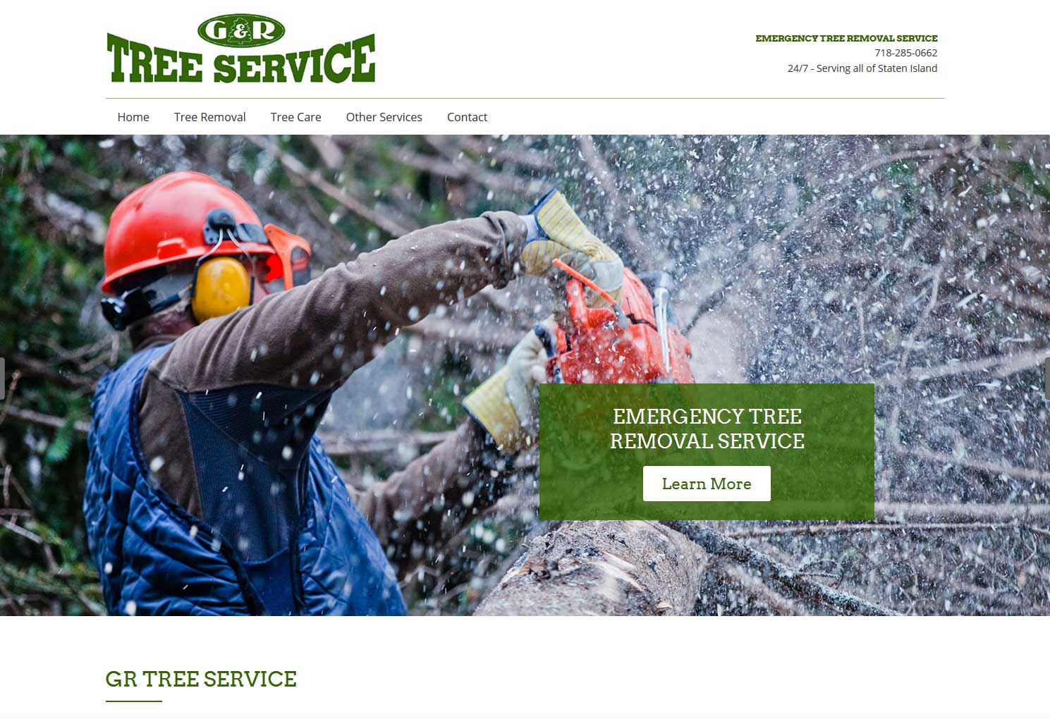G & R Tree Servce Website by Staten Island Web Designers NB Technologies