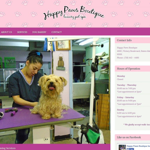 Happy Paws Boutique website by Staten Island Web Designers NB Technologies