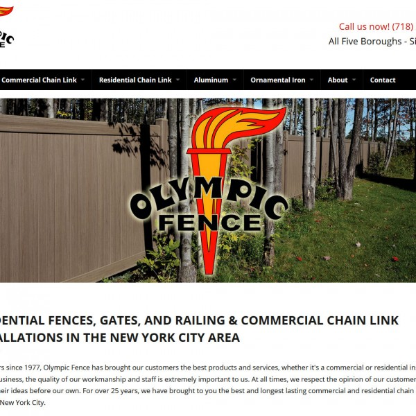 Olympic Fence website by Staten Island Web Designers NB Technologies